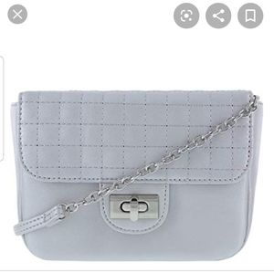 Christina Siriano Silver Quilted Crossbody Bag NWT